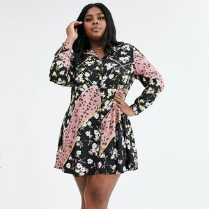 Simply Be swing shirt dress in mixed floral print